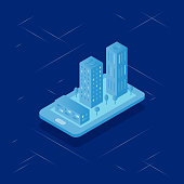 Vector illustration with real estate isometric.