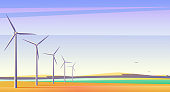 Vector illustration with rotation windmills for alternative energy resource in spacious field with blue sky.