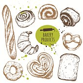 Vector illustration with sketch bakery products.
