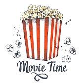 Vector illustration with sketch popcorn bucket. Cinema snack. Hand drawn