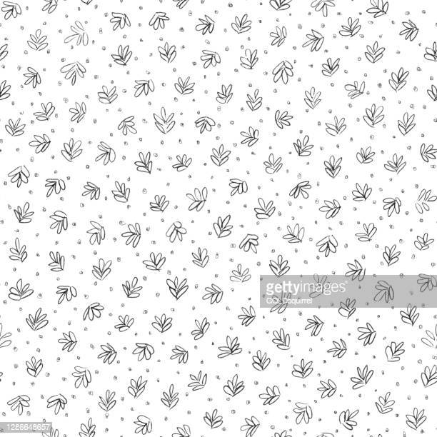 vector illustration with small hand painted leaves and dots scattered carelessly on white paper background - abstract doodle texture with uneven messy irregular spontaneous drawn lines with unique shapes - textile pattern design - irregular texturizado stock illustrations
