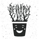 Vector illustration with smiley face pot and plant