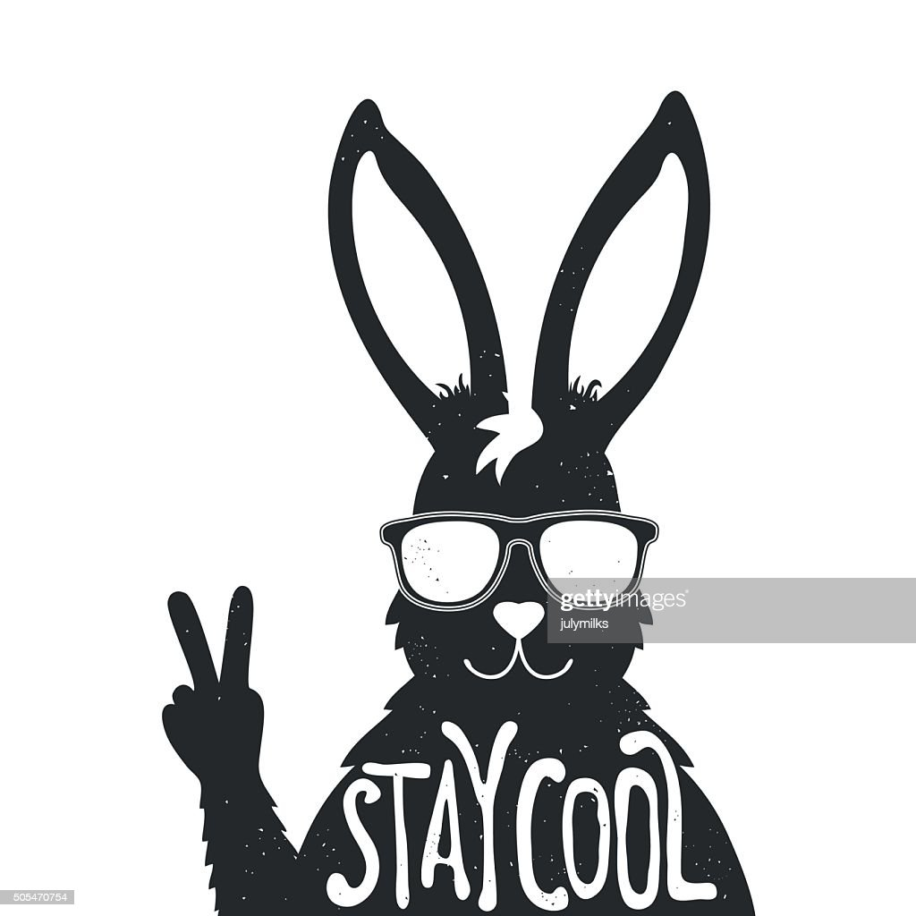 Vector illustration with stylish rabbit in sunglasses