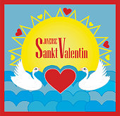 Vector illustration with Swans, text in French (France) meaning Happy Valentines day: Joyeuse Sankt Valentin
