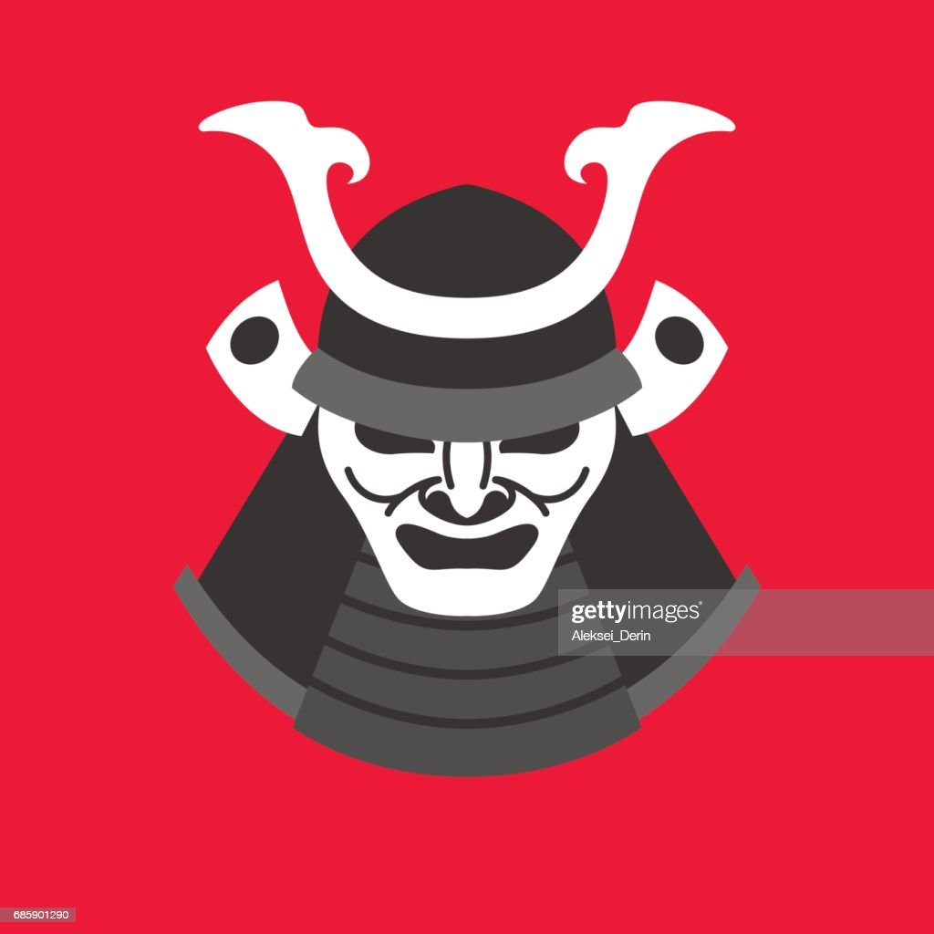 Vector illustration with the armor of a samurai in minimalistic flat style