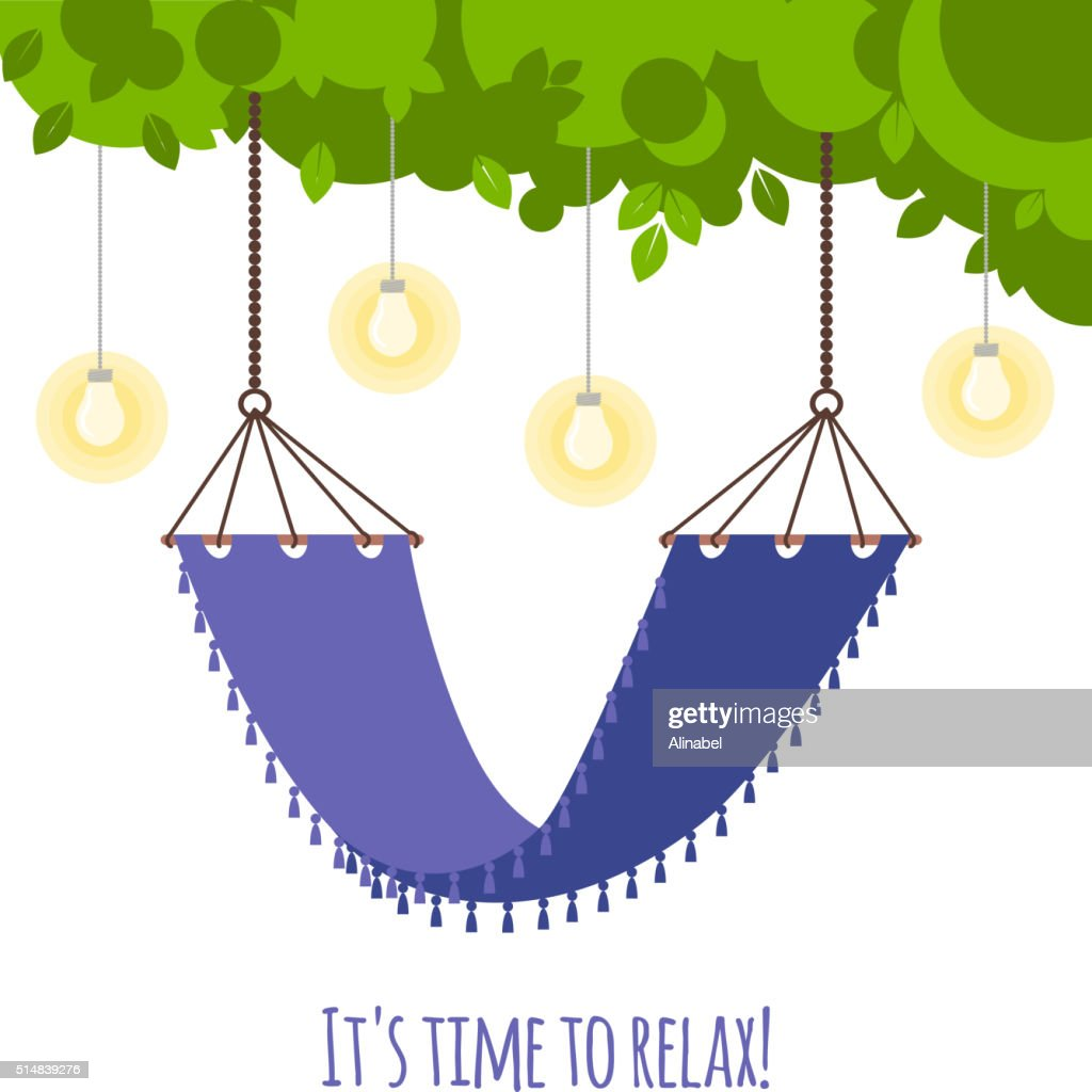 Vector illustration with tree branch and hammock
