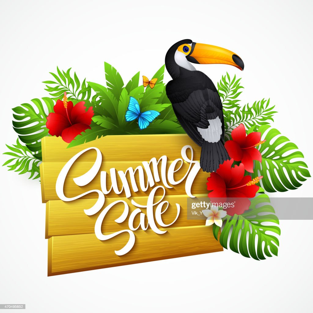 Vector illustration with tropical plants and flowers