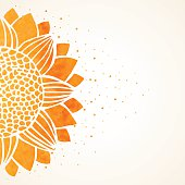 Vector illustration with watercolor sunflower