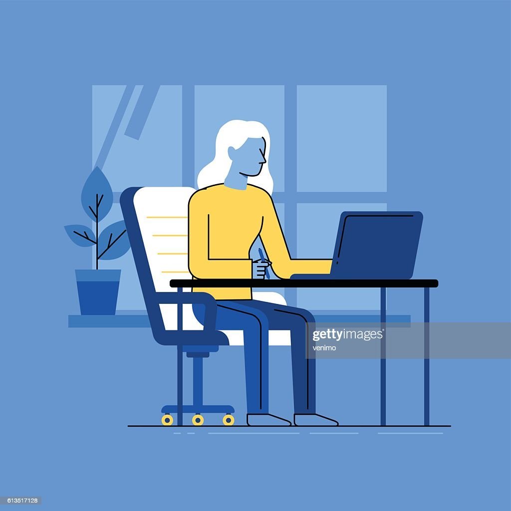 Vector illustration - woman working sitting at the desk with