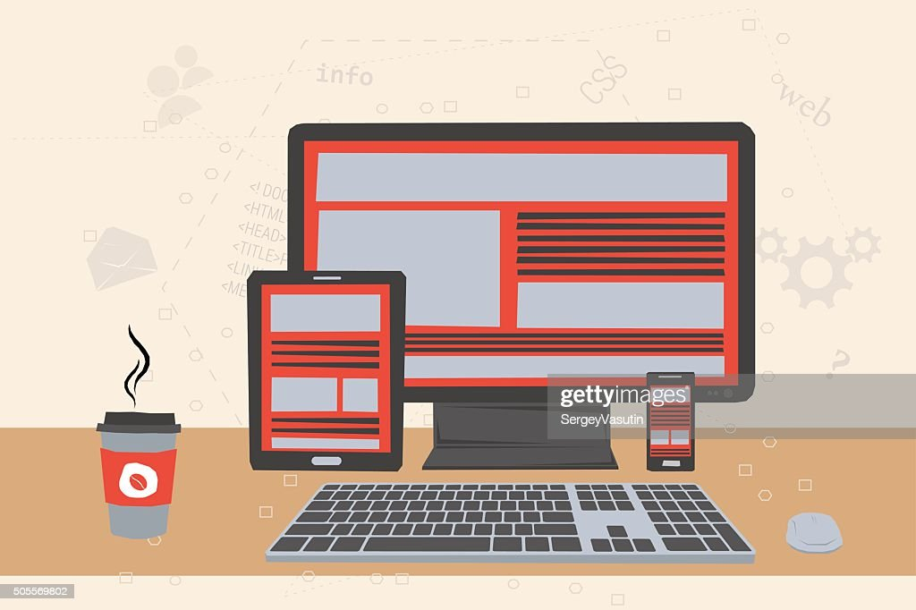 Vector illustration working place of programmer