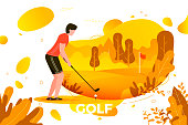 Vector illustration, young sporty man playing golf
