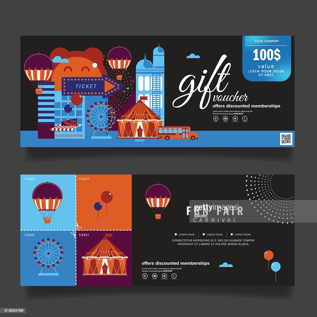 Vector illustration,Gift voucher template with modern pattern.Carnival Fun Fair