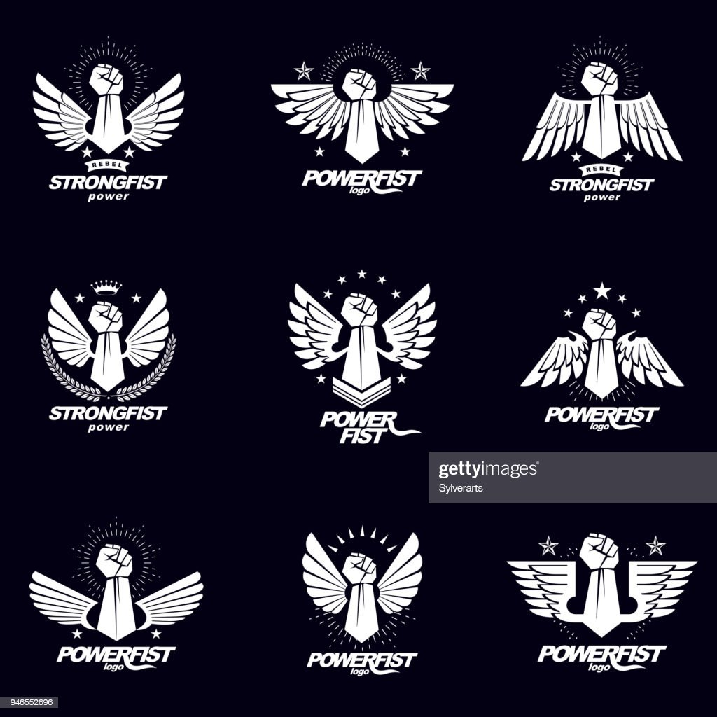 Vector illustrations collection made using raised fist of active strong person, eagle wings, laurel wreath and different graphic elements. Boxing association signs.