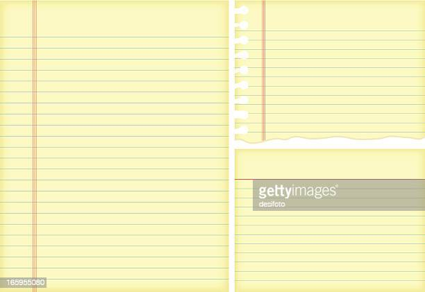 vector illustrations of lined paper. - lined paper stock illustrations