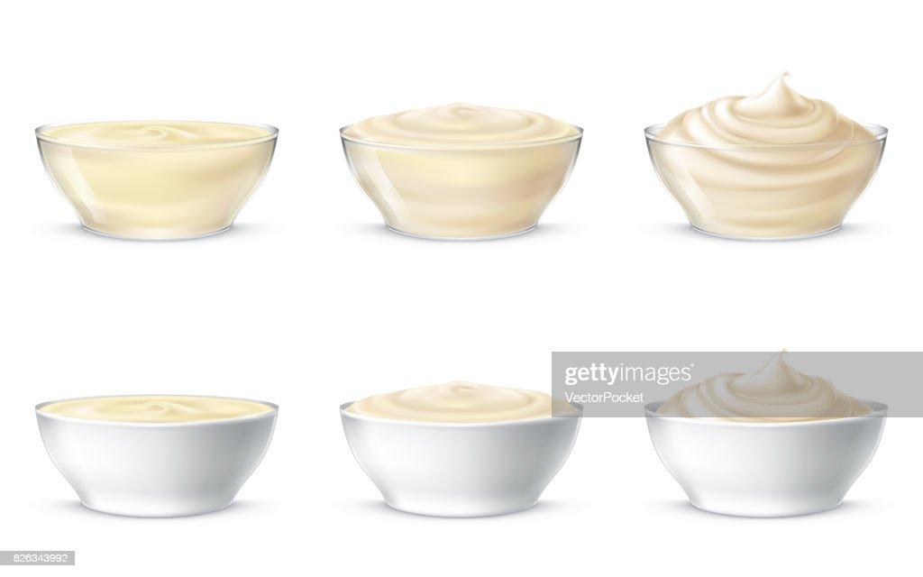 Vector illustrations of mayonnaise, sour cream, sauce, sweet cream, yogurt, cosmetic cream