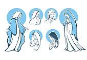 vector illustrations of praying virgin Mary..