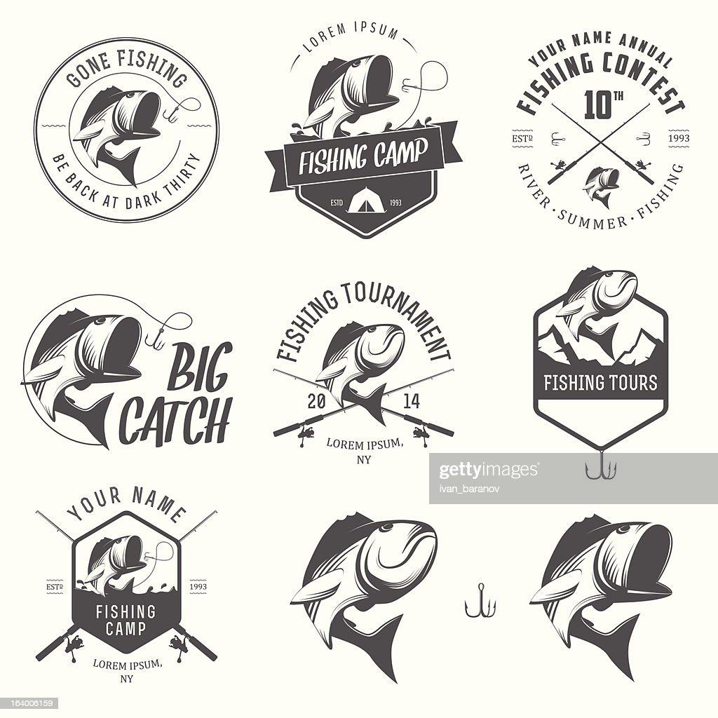 Vector illustrations of vintage fishing labels