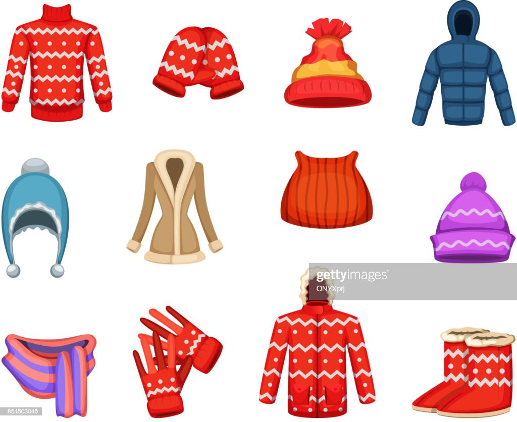 Vector illustrations of winter clothes collection
