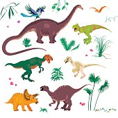 Vector illustrations set of cartoon dinosaurs and tropical plants, grass and stones. Jurassic park concept.