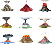 Vector illustrations set of mountains and hot explosion of volcano