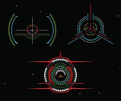 Vector illustrations. Sights spacecraft. Interactive crosshair