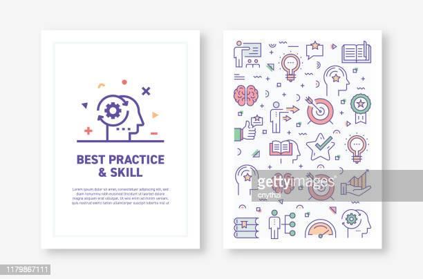 vektor-illustrationen mit best practice und geschicklichkeit verwandte symbole für broschüre, flyer, cover book, jahresbericht abdeckung layout design vorlage - zwischenbericht stock-grafiken, -clipart, -cartoons und -symbole