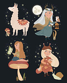 Vector illustrations with girl and forest plant and alpaca.