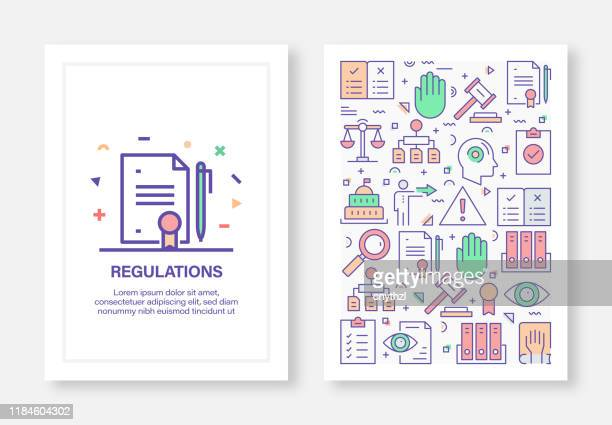 vector illustrations with regulations related icons for brochure, flyer, cover book, annual report cover layout design template - guidance stock illustrations