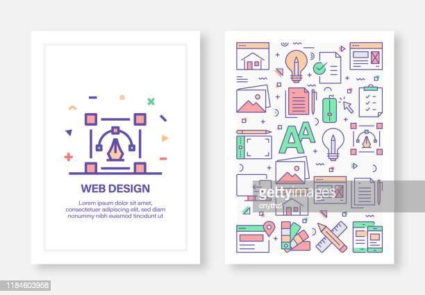 ilustraciones, imágenes clip art, dibujos animados e iconos de stock de ilustraciones vectoriales con iconos relacionados con el diseño web para folletos, folletos, libros de portadas, plantillas de diseño de diseño de portada de informe anual - tableta gráfica