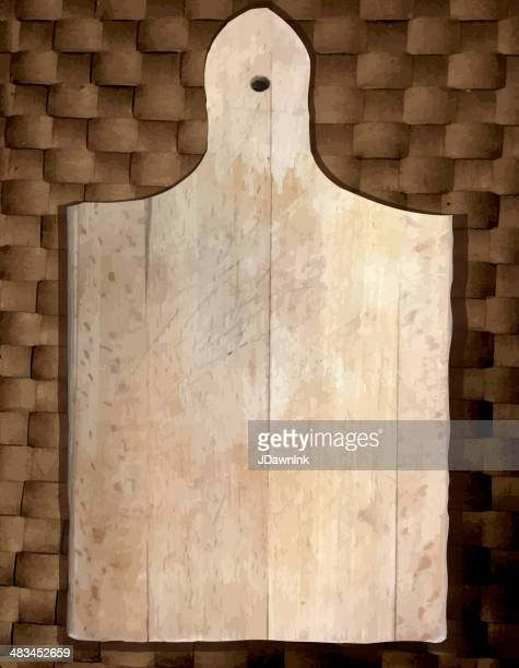 Vector illustraton simple Worn cutting board on a weave background