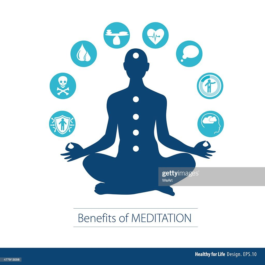 Vector illustrator Benefits of Meditation. Healthy concept.