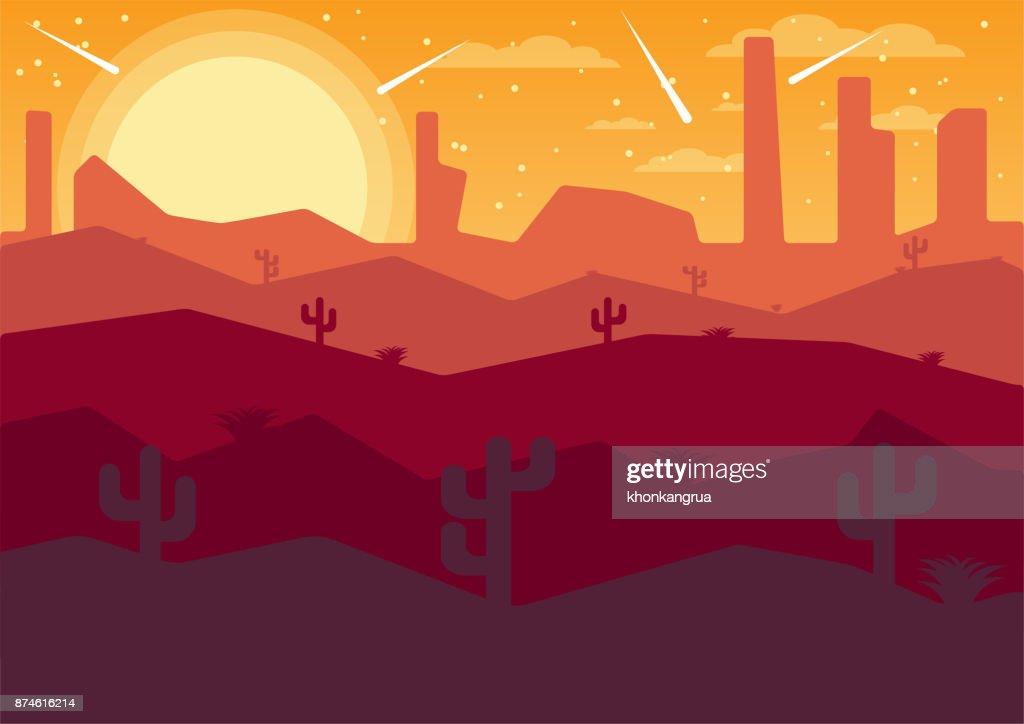 vector Illustrator flat landscape desert night with comets