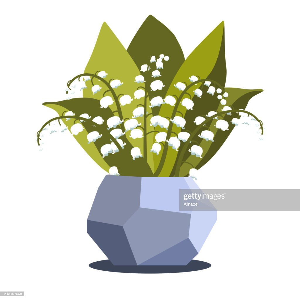 Vector illustrtion with vase and lily of the valley