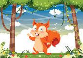 Vector Iluustration Of Cartoon Squirrel