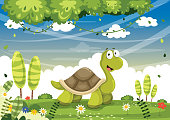 Vector Iluustration Of Cartoon Turtle