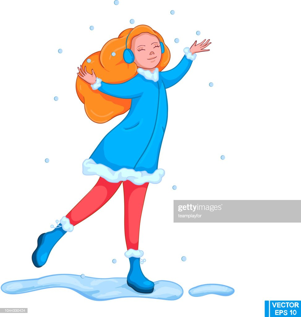 Vector image. A cartoon girl with red hair catches snowflakes. The child is happy in winter.
