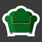 Vector image armchair. Vintage Retro Armchair Icon. Vector white icon colored sticker. Layers grouped for easy editing illustration.  For your design.
