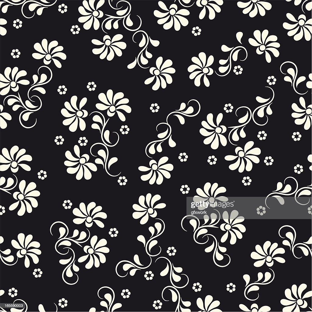 Vector Image Black Background And A White Floral Pattern High Res