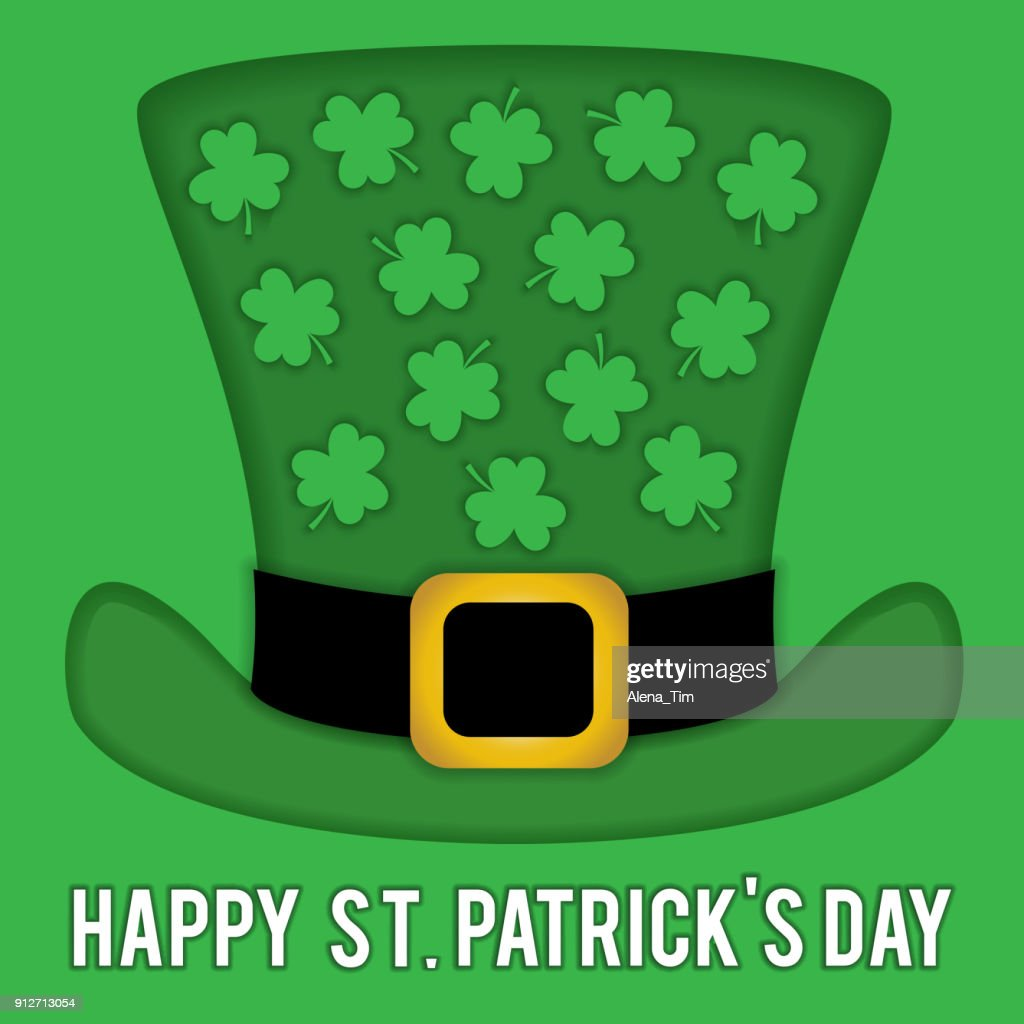 Vector image for patricks day. On the hat of the leprechaun, a pattern from the leaves of the clover.