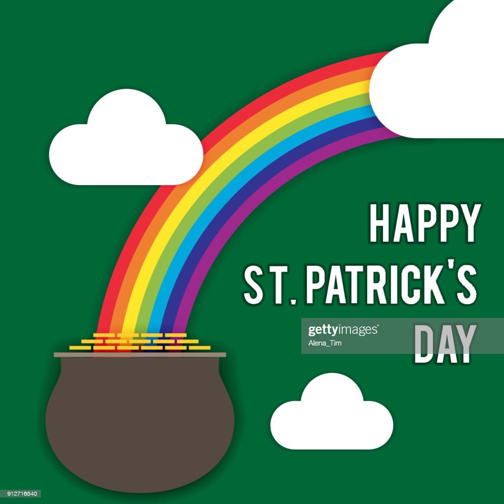 Vector image for St. Patrick's Day. Rainbow, a pot of coins, clouds, an inscription congratulation on the holiday. Style the papercut.