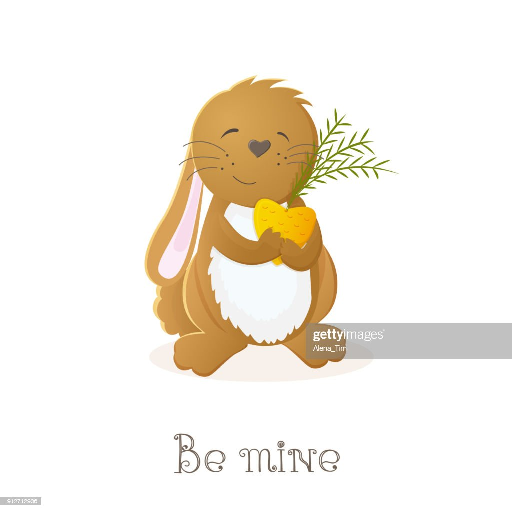Vector image for Valentine's day. A nice happy hare holds a carrot in hands and smiles. Valentine's Day. Perfectly suitable for decoration of postcard, invitation, banner