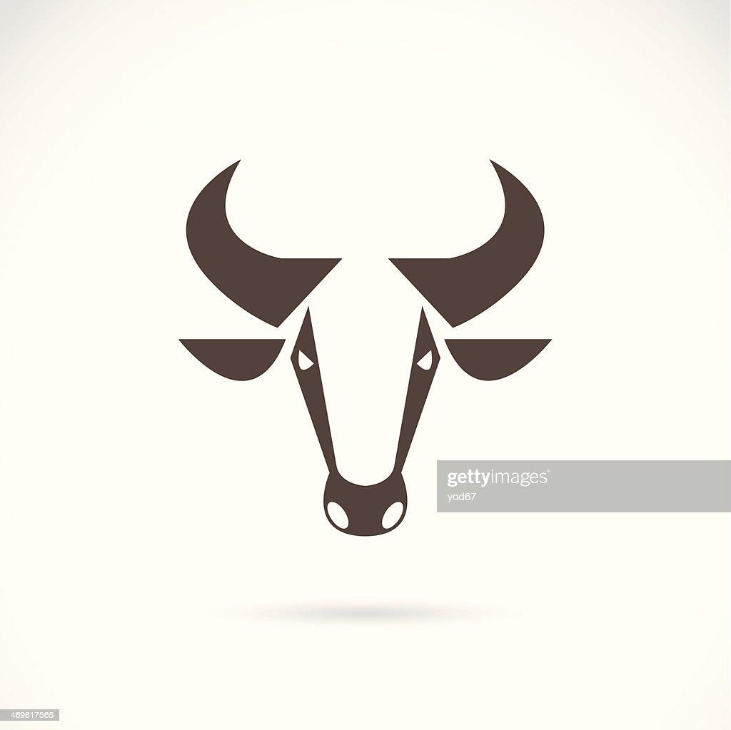 Vector image logo cow steer head horns art graphic brown