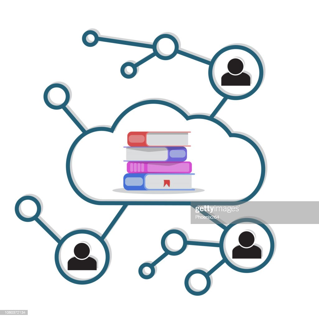 Vector image of a cloud library theme.
