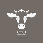 Vector image of a cow head design on brown background.