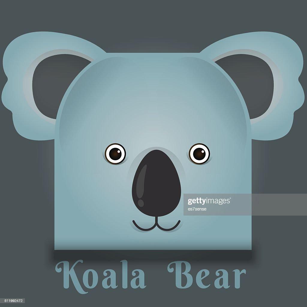 Vector image of a cute koala bear square style