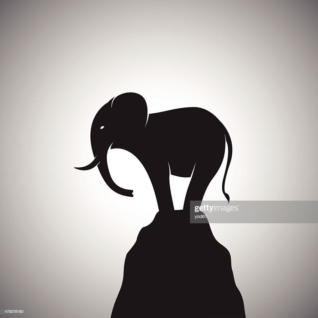 Vector image of a elephant standing on the rocks.