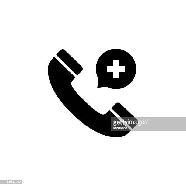 vector image of a flat, isolated icon emergency call sign - dialing stock illustrations