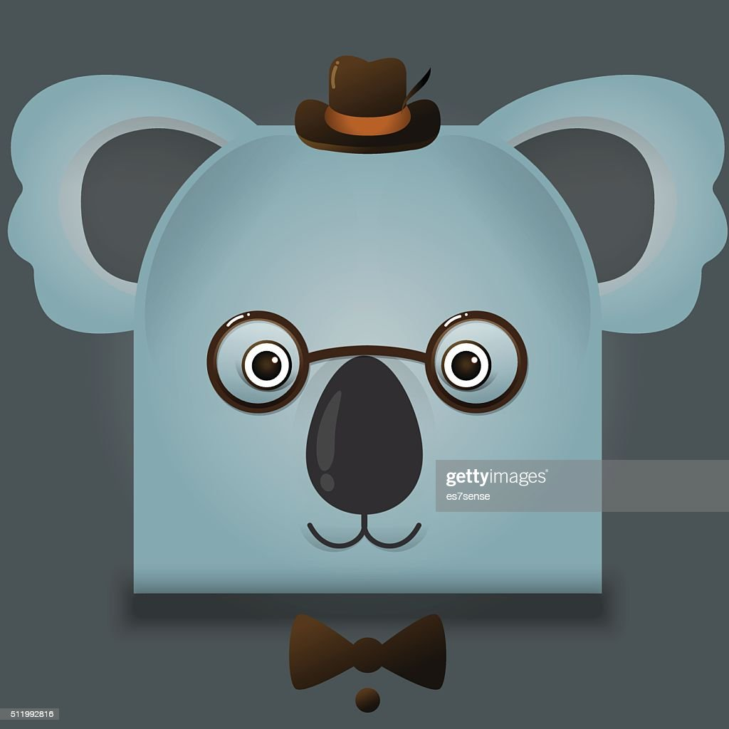 Vector image of a hipster koala bear square style