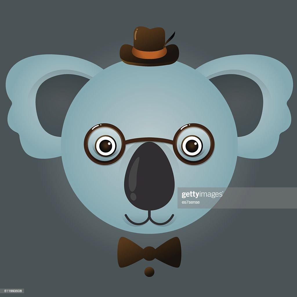 vector image of a hipster koala bear