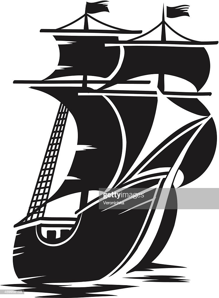 A vector image of a large ship
